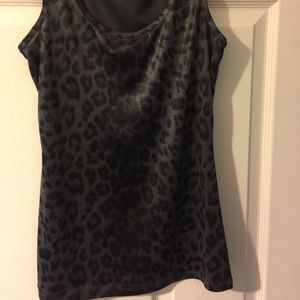 INC International Concepts Tops - INC Grey/Black Leopard Print Dressy Tank